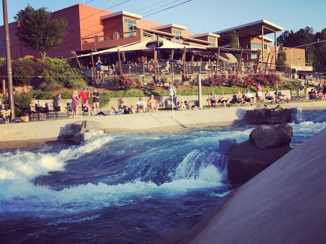 You're bound to have a great time rafting on these man-made whitewater rapids.
