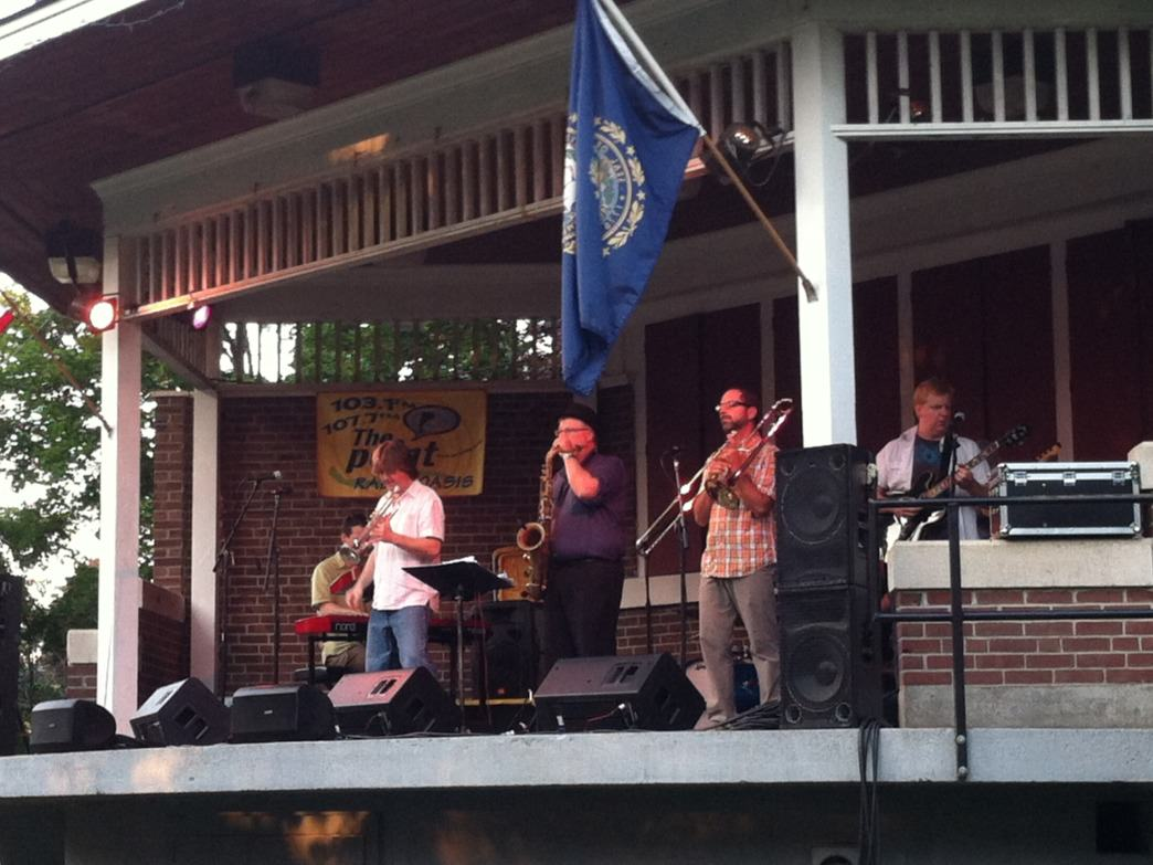 Boston Horns entertain onlookers during Lebanon's Front Porch Concert Series.