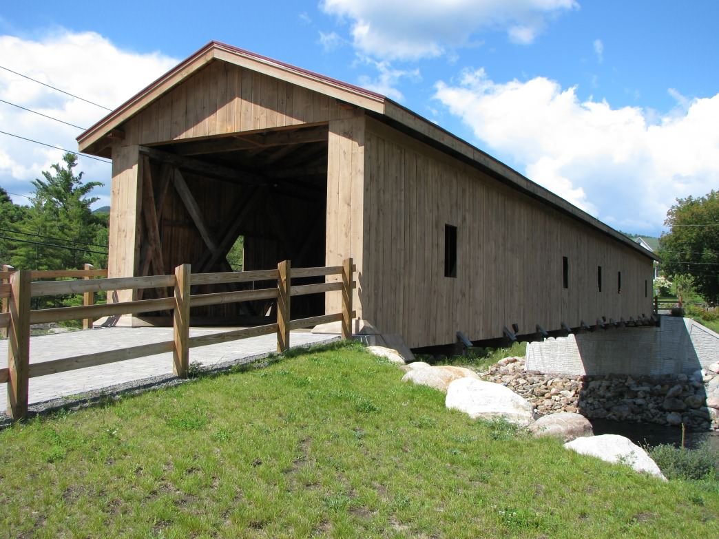 Covered bridge above Ausable River in Jay, New York.