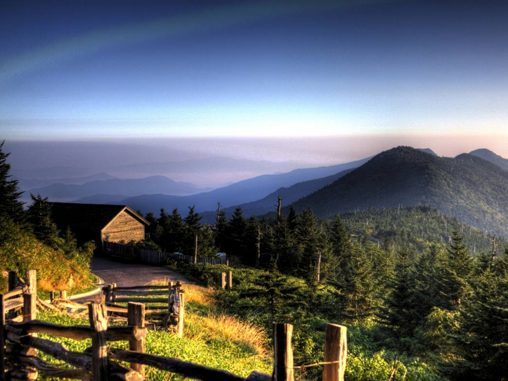 Mt. Mitchell glows in the first light of day.