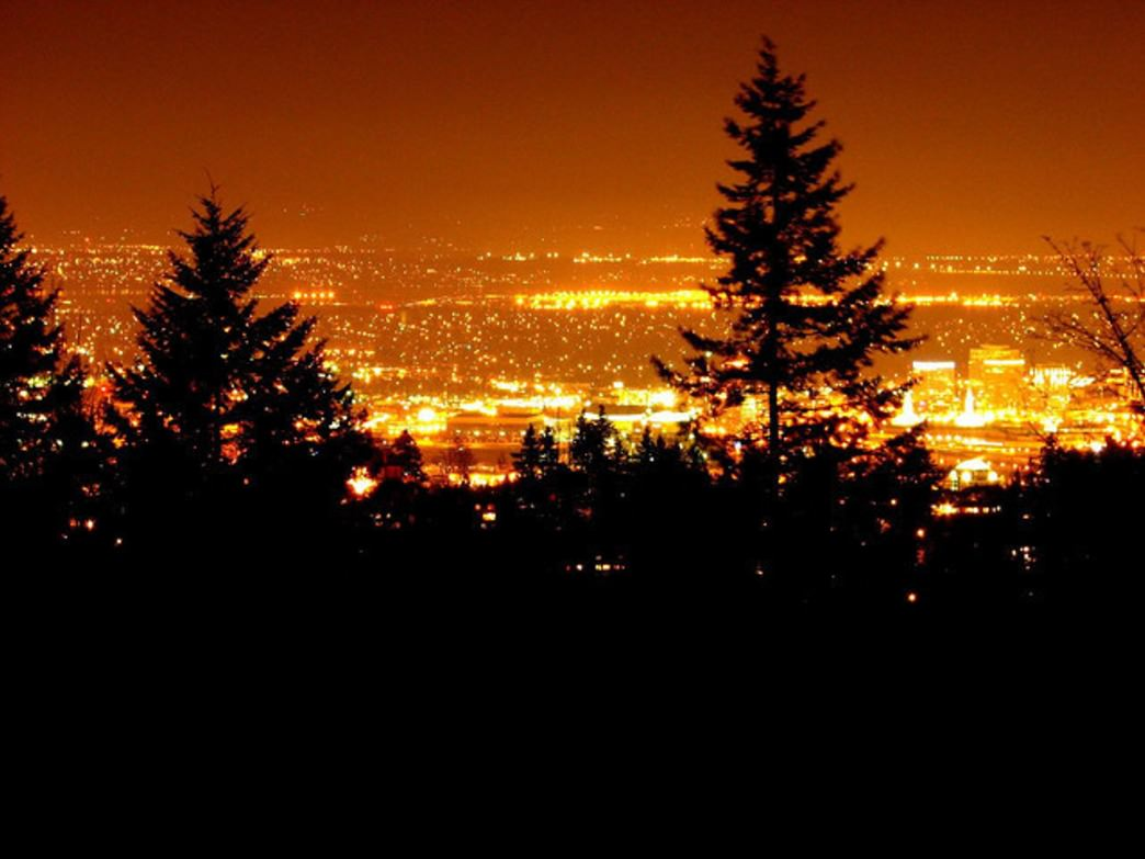 Evening views from Council Crest offer a vivid look at Portland.