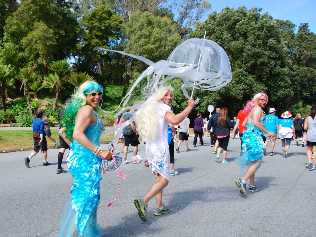 Costumed runners head through Golden Gate Park at the 2014 Bay to Breakers.