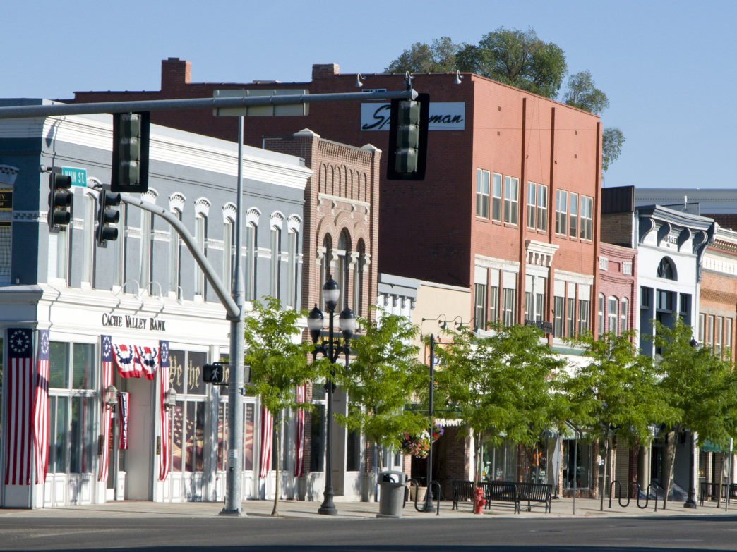 Historic Main Street in Logan, Utah, is filled with shops and restaurants, but it retains its small-town charm.