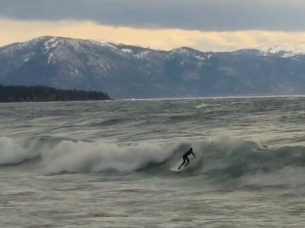Catching some waves at Lake Tahoe.