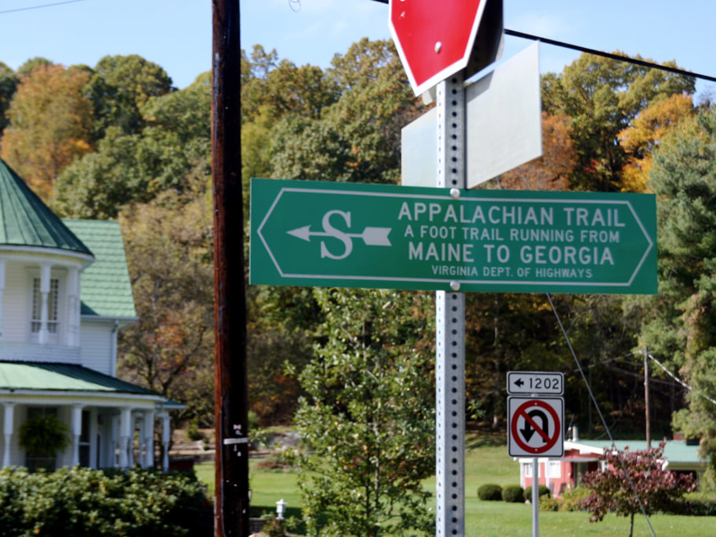 Appalachian Trail sign in Damascus, VA.