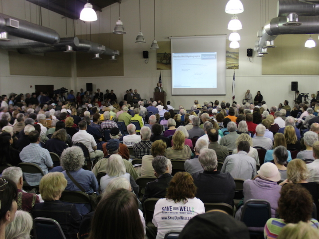 People packed the Wimberley Community Center Feb. 11 during a town hall meeting with Rep. Jason Isaac, R-Dripping Springs, to demand a stop to the commercial groundwater-pumping project in Hays County.