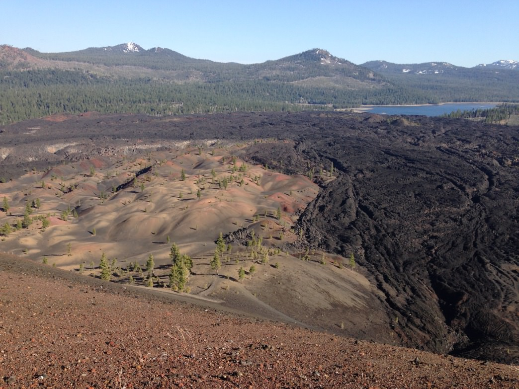 Overlook lava flows and the Painted Dunes from Cinder Cone peak.