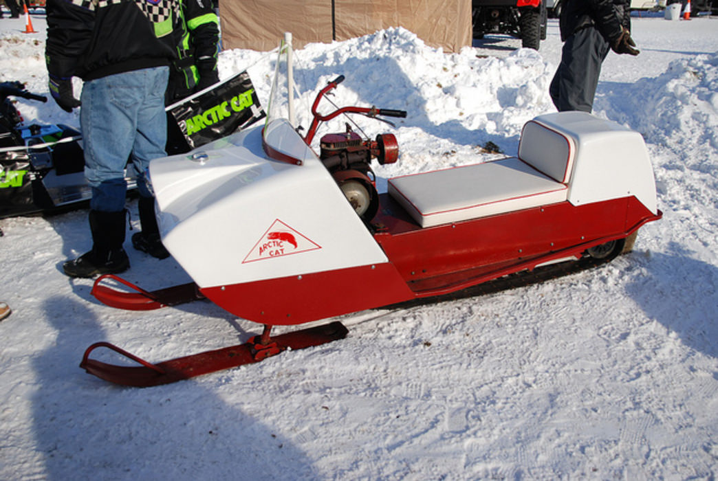 Check out vintage snowmobiles like this Arctic Cat from the mid-1960s at WinterFest's Vintage Oval Racing Event on Valentine's Day.