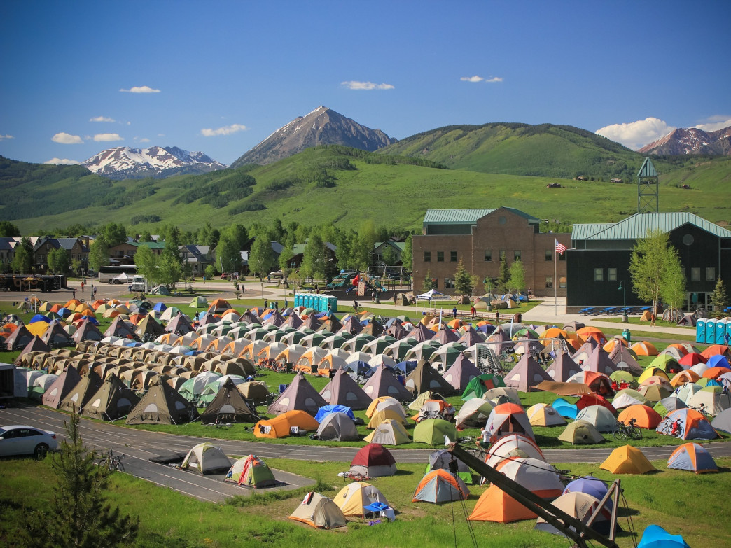 Camping alongside your fellow riders is part of the fun during Ride the Rockies.