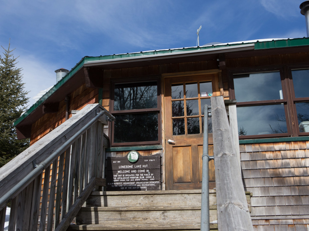 The exterior of Lonesome Lake Hut