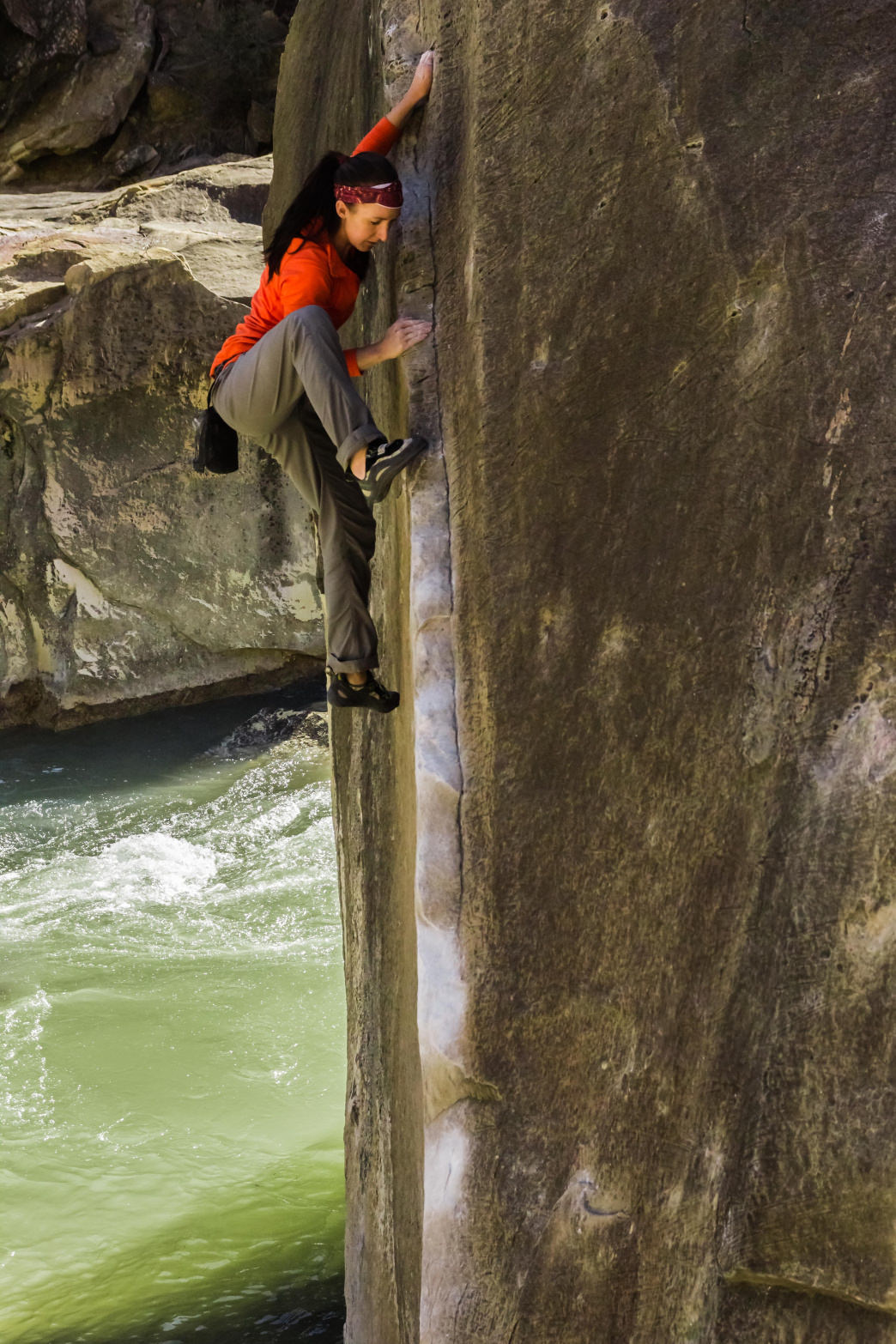 The Angler is only V2, but its height and the water below makes it a proud send for beginner-level climbers.