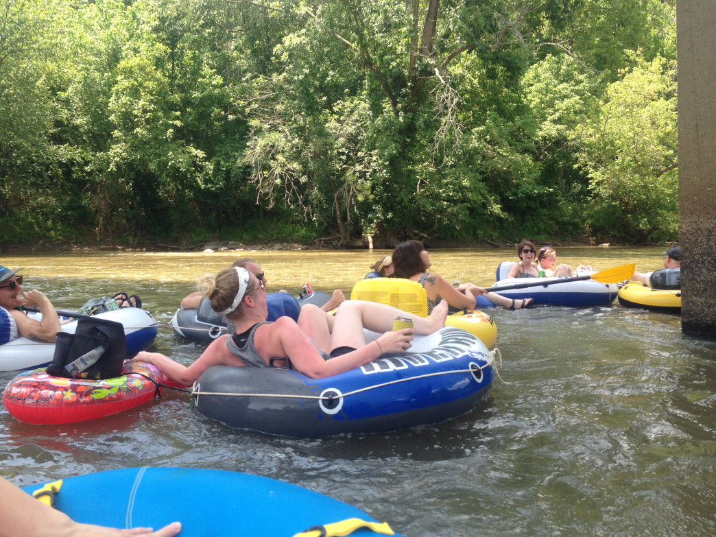 Tubing down the French Broad River.
