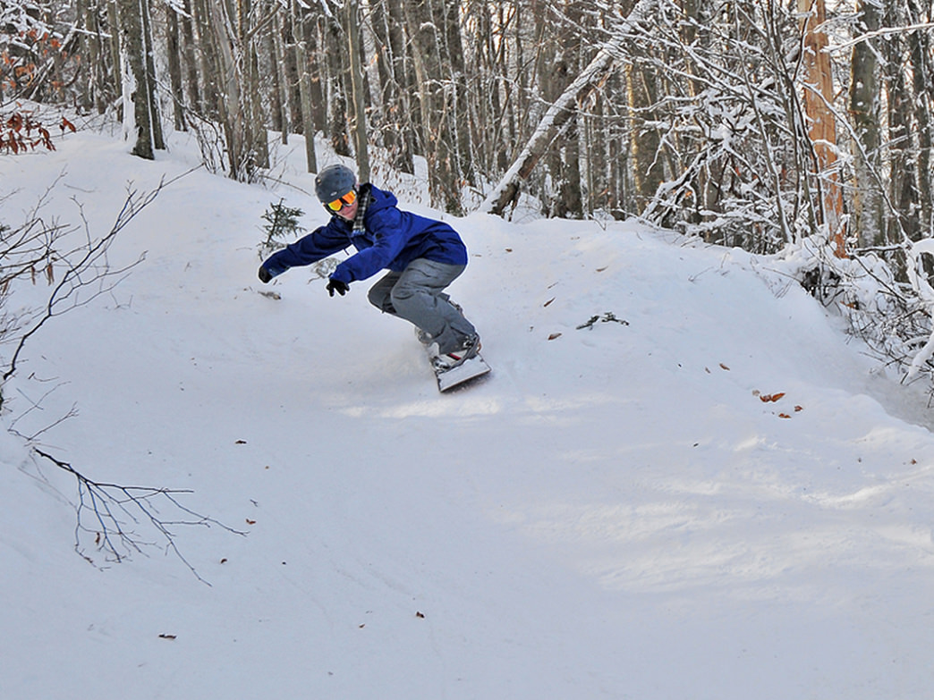 Skiing and snowboarding at Timberline Resort offers some of the best tree runs around.
