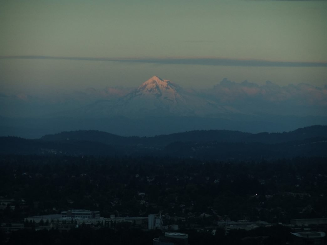 The upper platform at the Portland Aerial Tram provides unfettered views of Mount Hood.