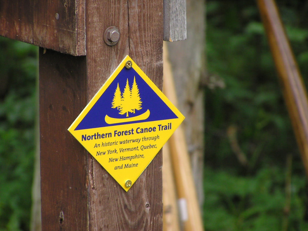 A trail marker along the Northern Forest Canoe Trail.