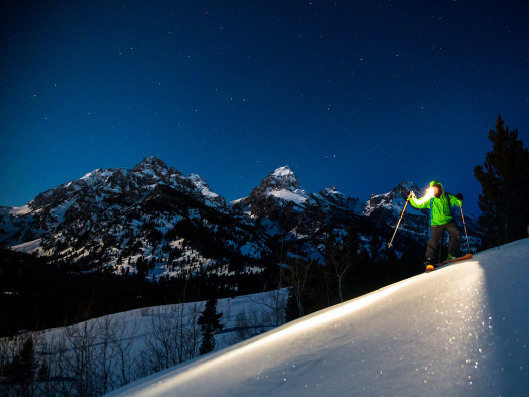 Moonlit backcountry skiing in Jackson Hole