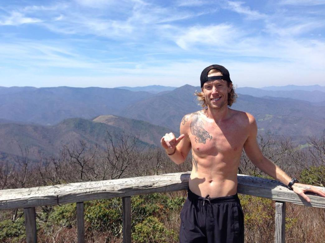 "Sean Blanton at the summit of Black Rock Mountain- the course for ""Battle for Black Rock."""