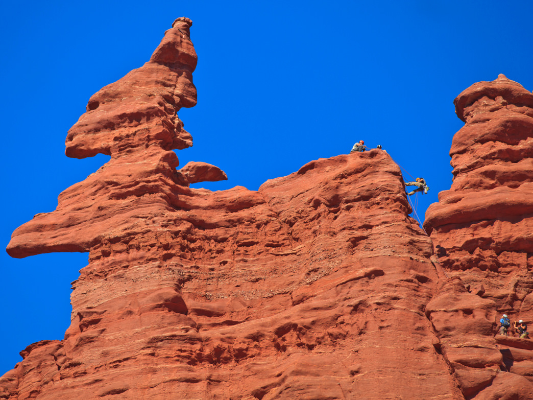 The Fisher Towers take on all kinds of interesting formations, including the famous corkscrew summit atop Ancient Art.
