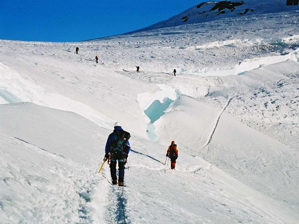 Following the well worn trail to the summit ridge of Mt. Rainier