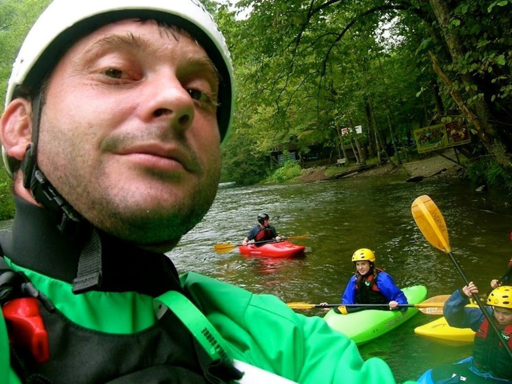 Benjy Darnell leading a whitewater kayaking trip