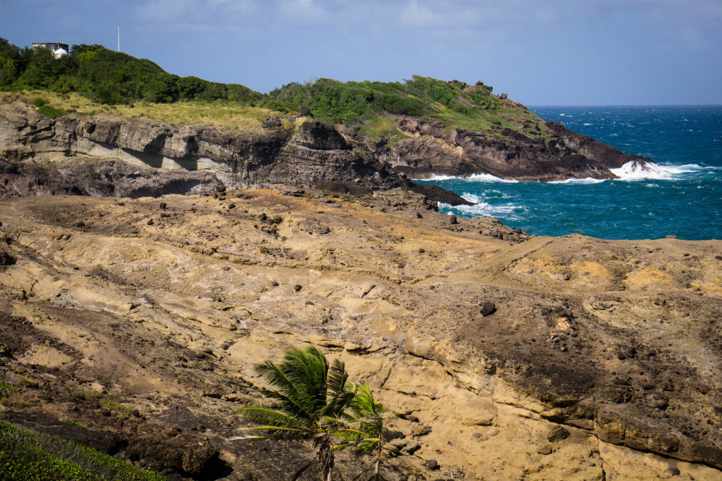 Rocky outcrops and dark ocean water are characteristics of the Atlantic side of Martinique.