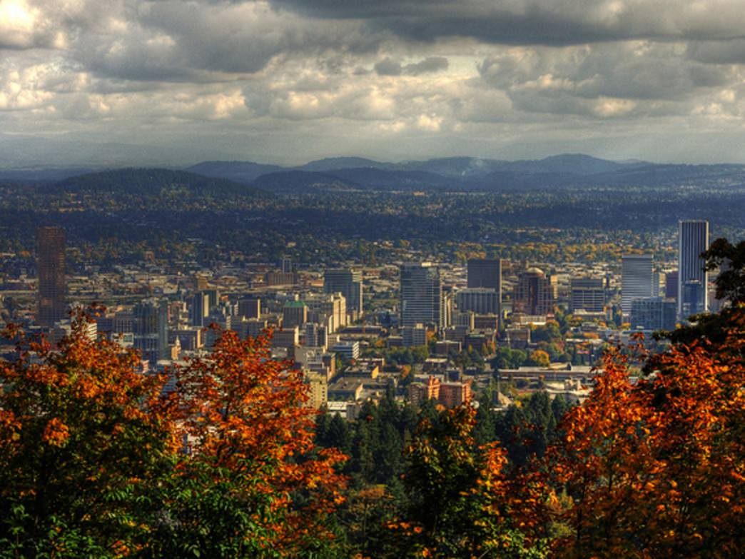 The Wildwood Trail, with a stop at Pittock Mansion, offers views of downtown Portland and beyond.