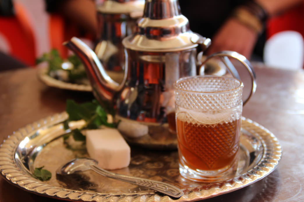 Sweet mint tea is a staple of the Moroccan diet.
