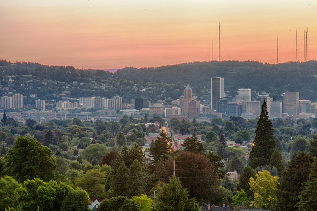 Mount Tabor offers views of central Portland and the West Hills, making for picturesque sunsets on clear evenings.