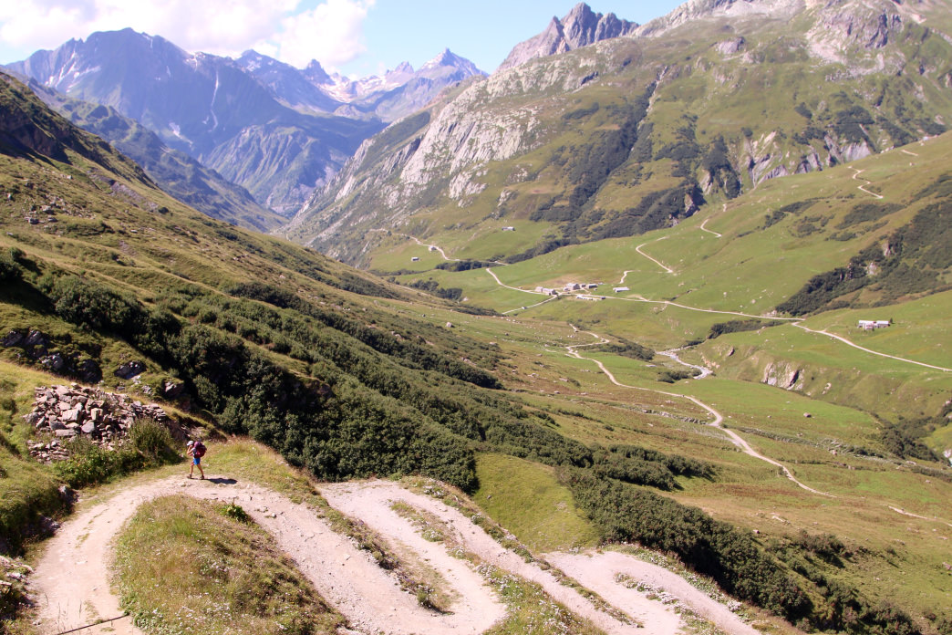 Some serious switchbacks along the Tour du Mont Blanc.     Matt Guenther