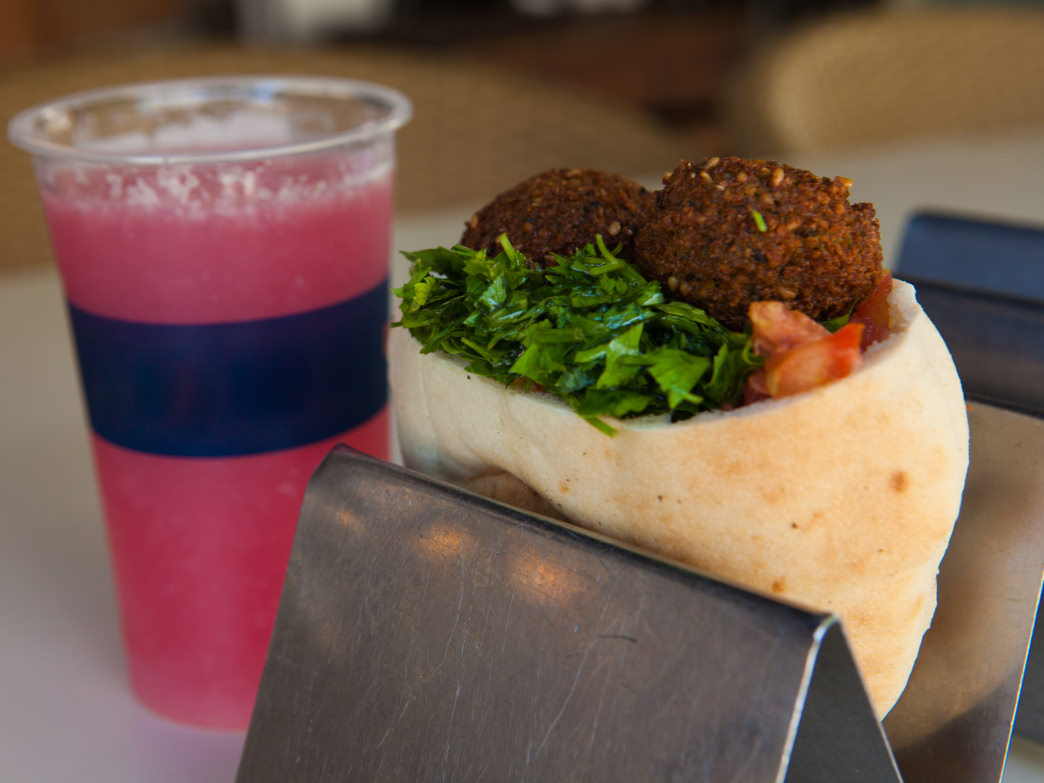 Crispy and delicious, falafel is an Israeli staple, with spicy flavors that pair nicely with fresh pomegranate juice.
