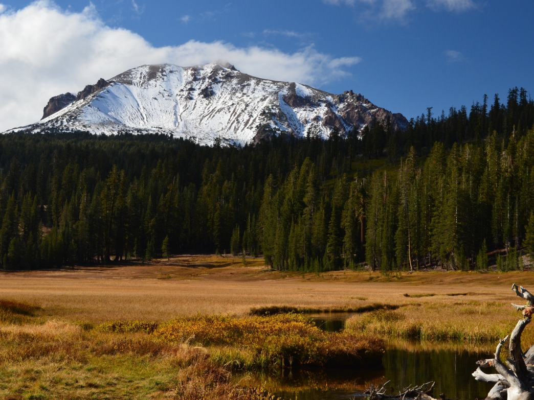 Lassen Peak stays snow-covered late into the season.