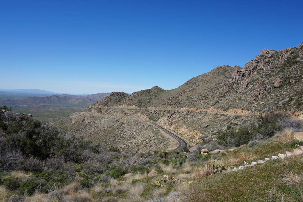 A winding road through Cottonwood Canyon.