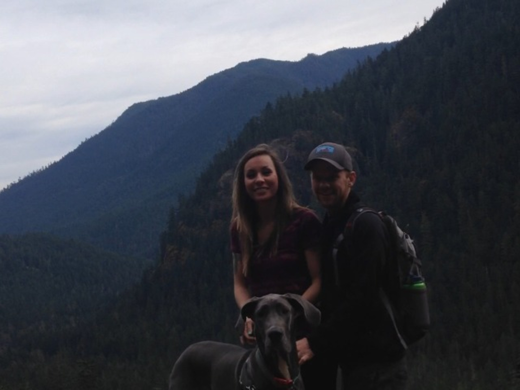 Korey Konga with his wife and his dog in Olympic National Park