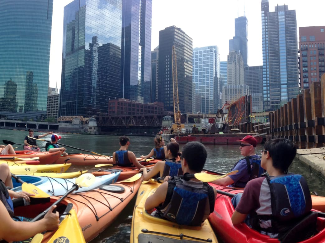 Experienced paddlers can experience the heart of downtown by navigating the veins of the city on the Chicago River.