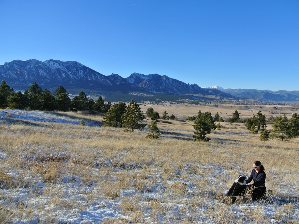 The Flatirons as seen from Marshall Mesa.