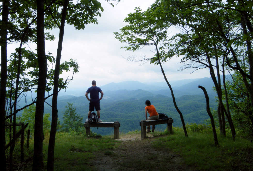 Two benches at the top of Molly's Knob offer a spectacular place to take a rest and enjoy the view.