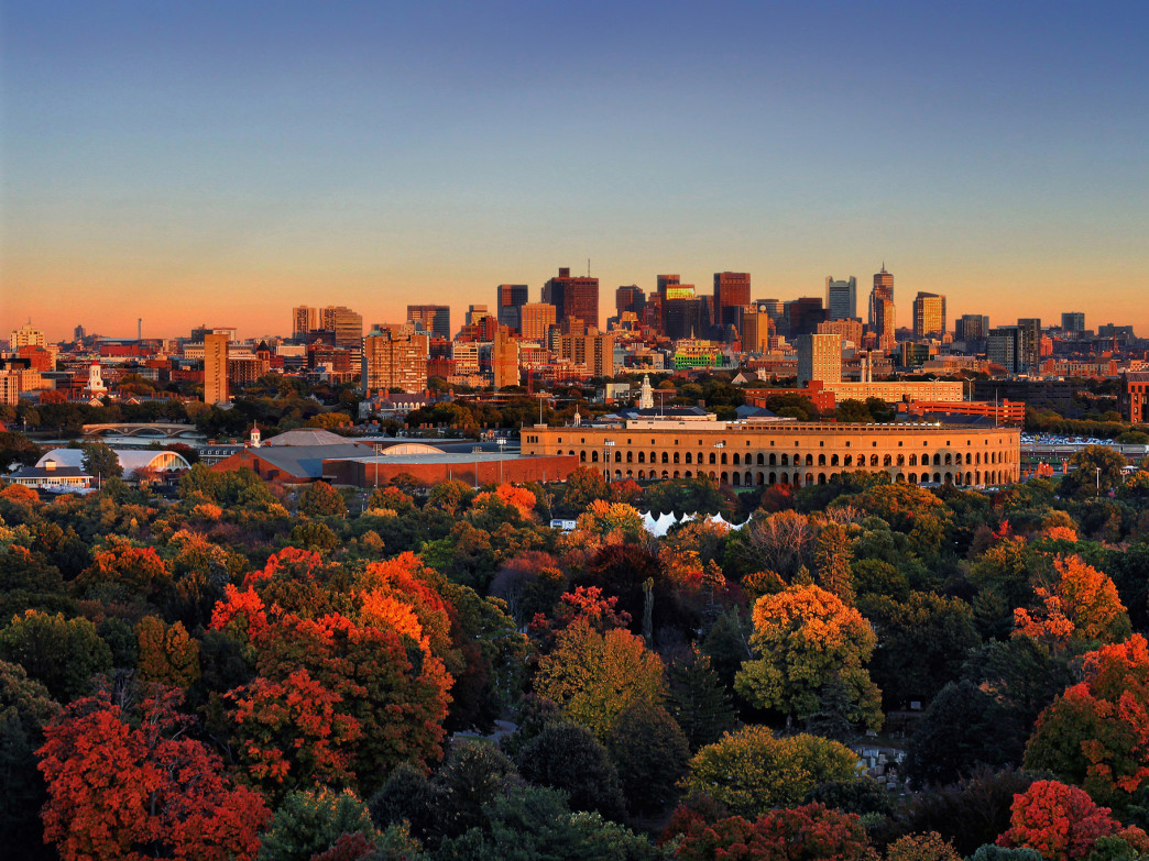 A view of Boston's expanse from the famous Mount Auburn Cemetery.