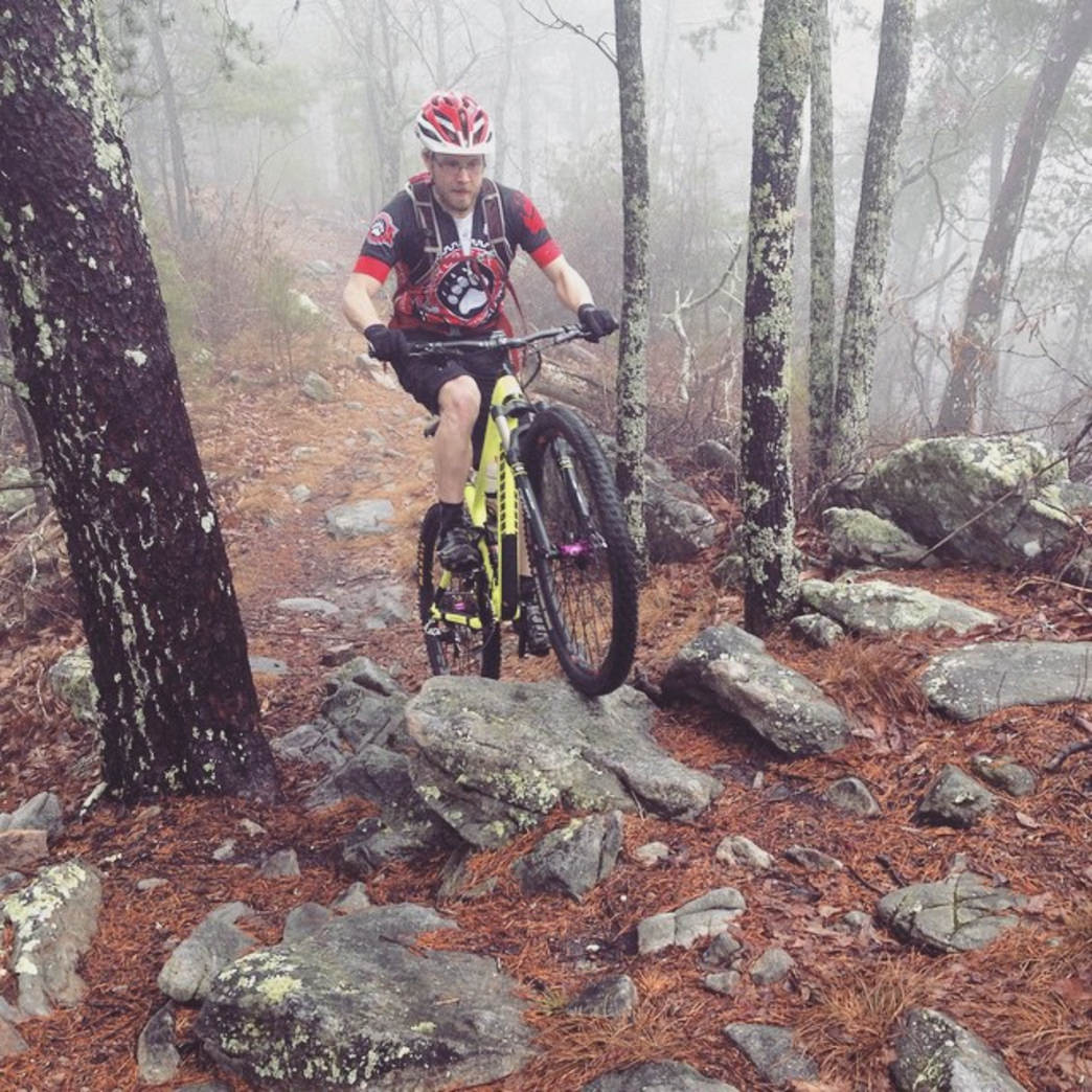 David Neiles works his way through one of the many rock piles on the Dug Gap Mountain ridgeline.