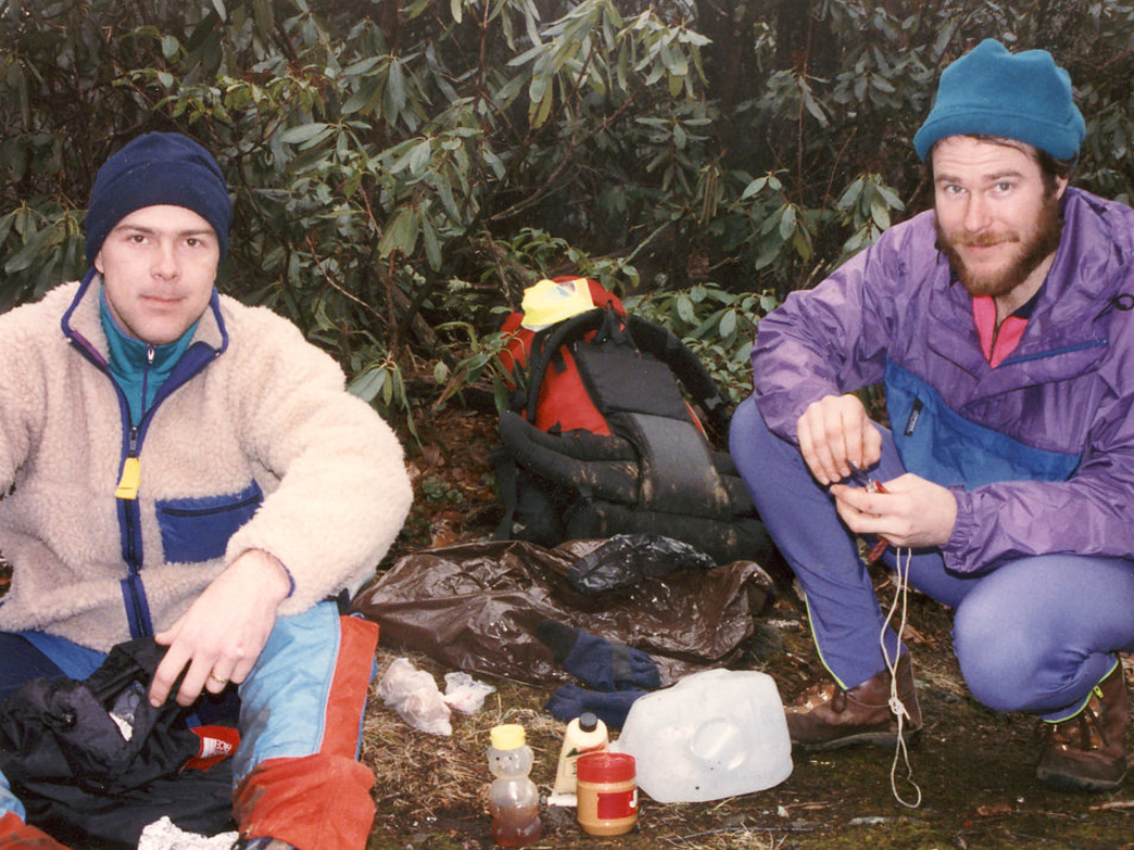 Dawson and Marvin camping in the early '90s.