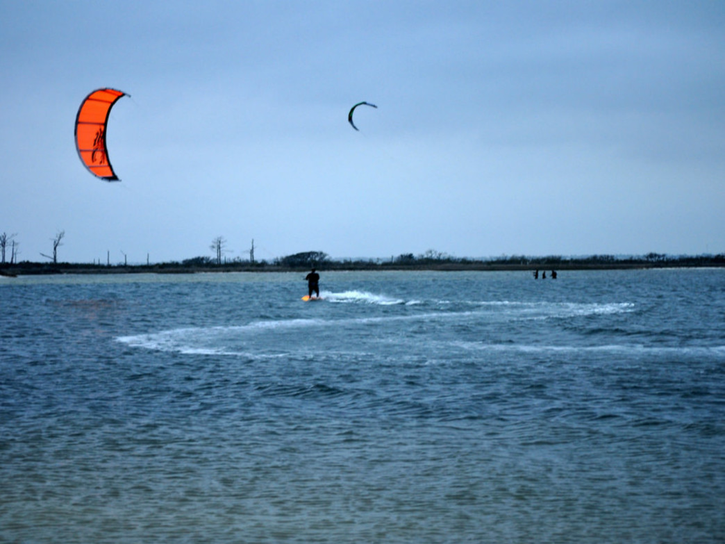 Kiteboarder on Big Sabine Bay.