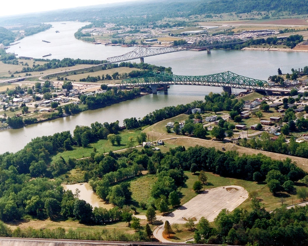 A view of Point Pleasant, WV from the air.
