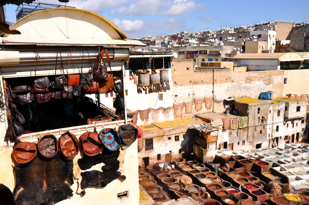 The Chouara Tannery is a popular stop in the Fes medina.     Julia Rogers