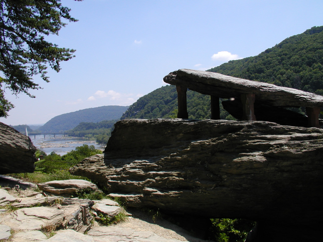 Check out Jefferson Rock in Harpers Ferry for wonderful views of the town, as well as the Potomac and Shenandoah Rivers.
