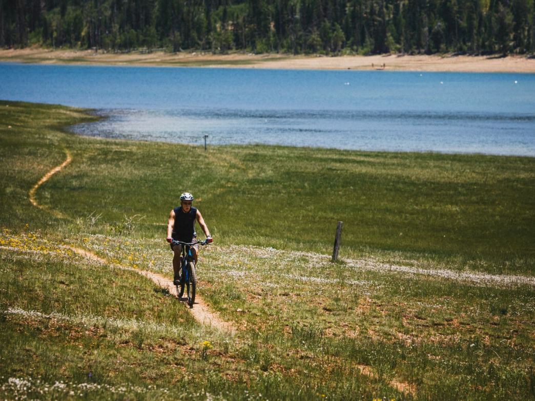 A man riding the Navajo Lake Loop, Dixie national Forest, Utah.