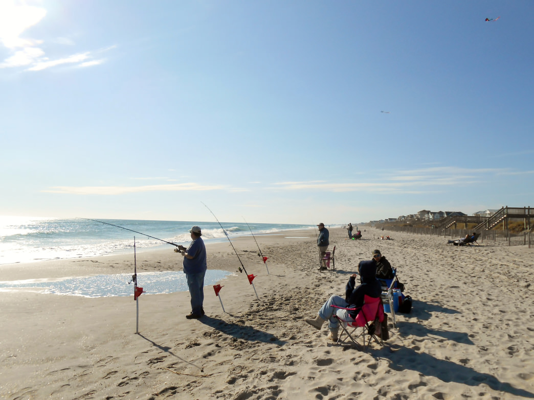 Fishing from the beach on Emerald Isle.