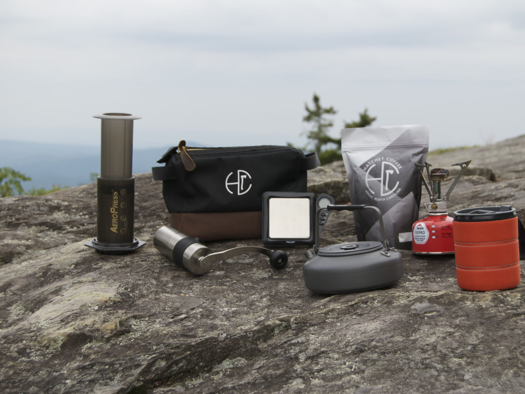 Hatchet Coffee's ultimate outdoor brewing kit.