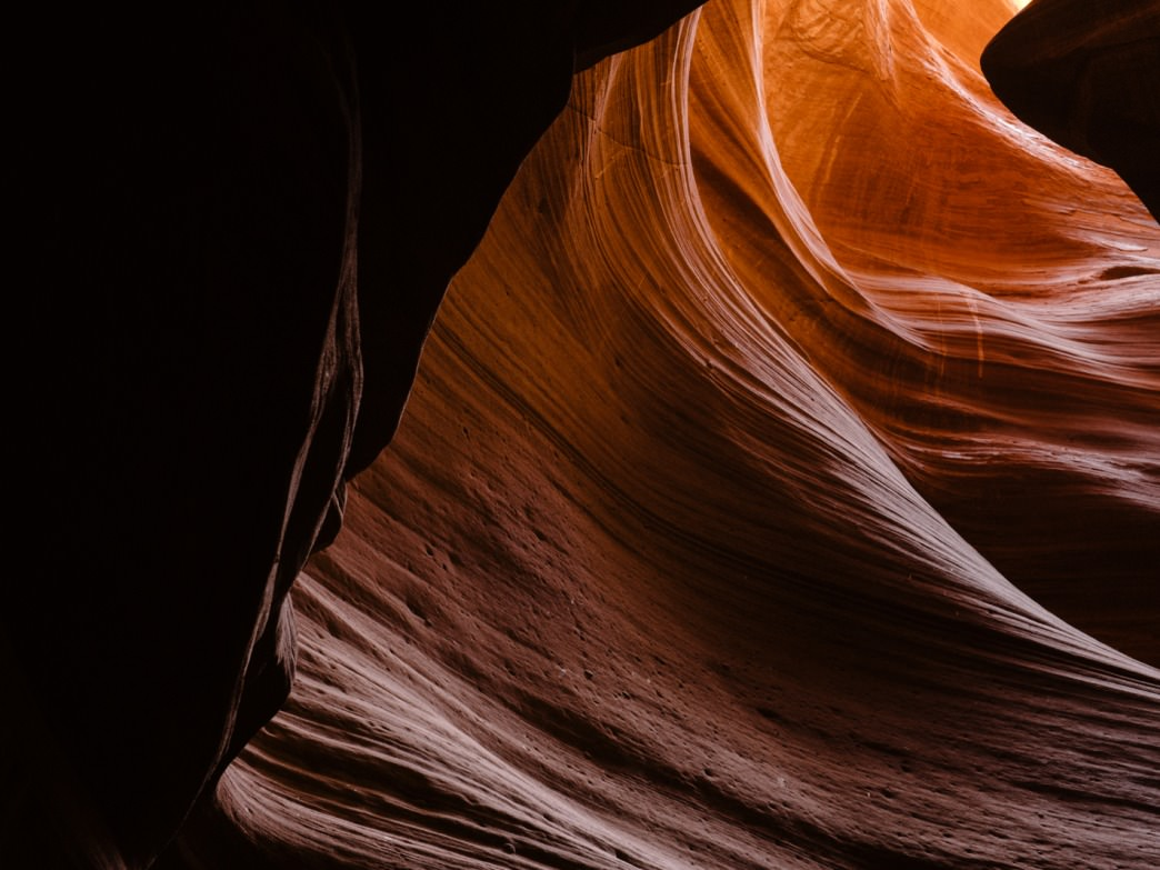 The smooth sandstone walls of Antelope Slot Canyon, Utah
