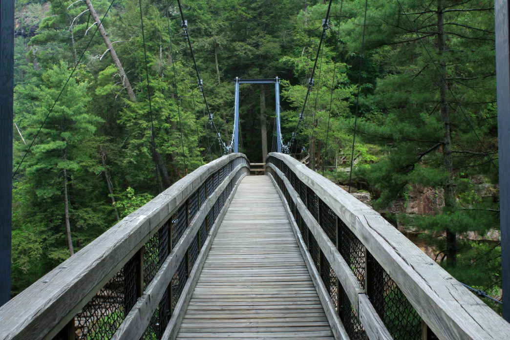 The suspension bridge over Tallulah Gorge gives you a bird's-eye view of Hurricane Falls below.