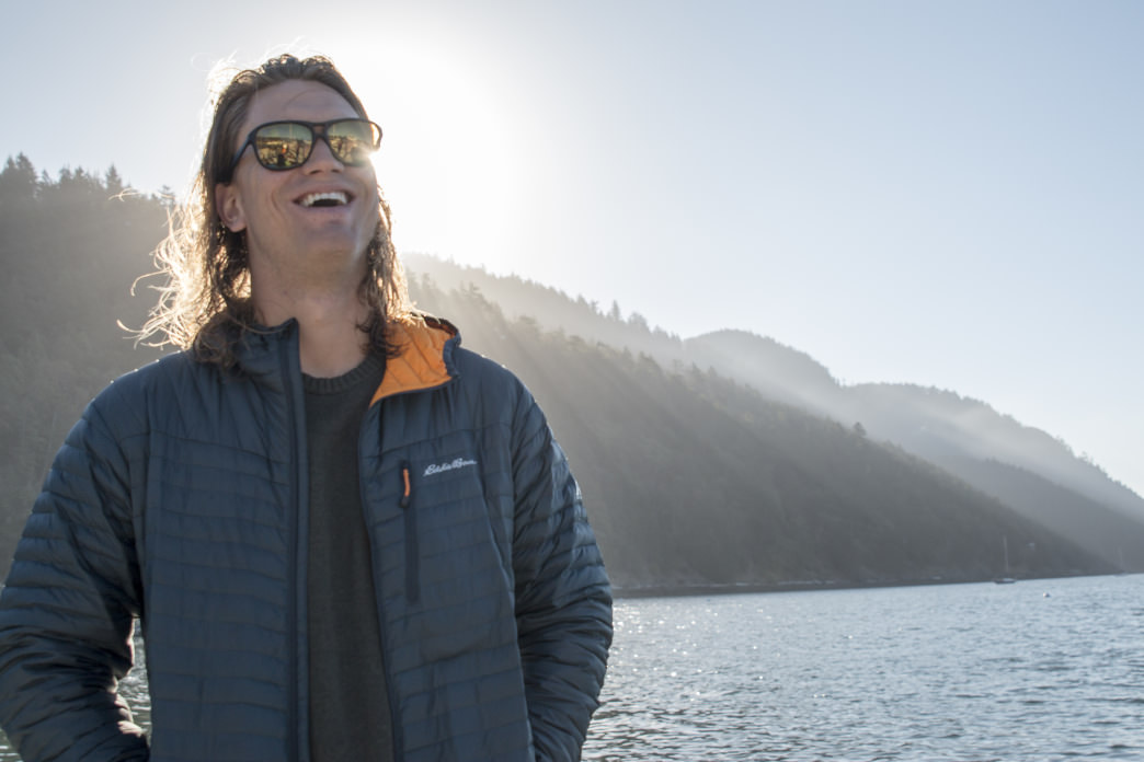 All smiles in the Eddie Bauer MicroTherm StormDown Jacket.