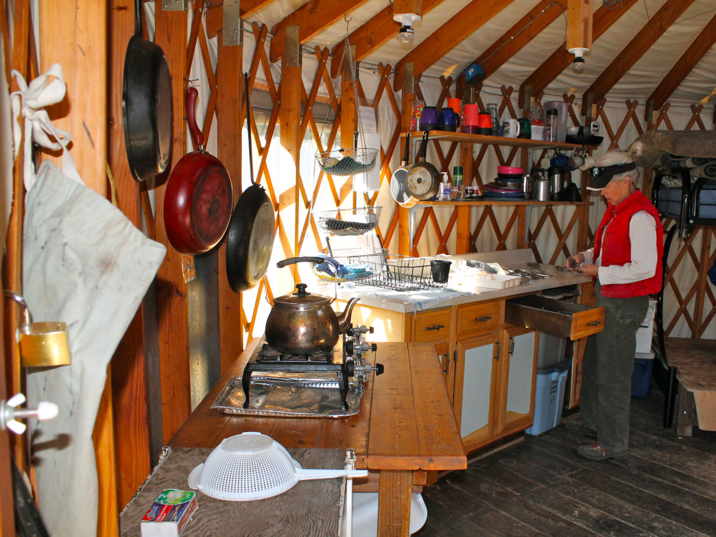 The Pass Creek Yurt has a well-equipped kitchen